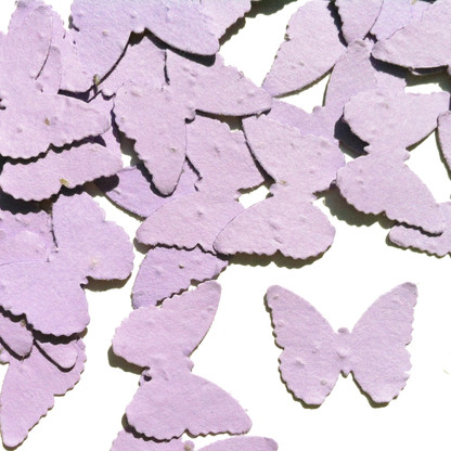 Lavender Butterfly Shaped Plantable Wildflower Seed Recycled Paper Wedding Confetti