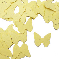 Pastel Yellow Butterfly Shaped Plantable Wildflower Seed Recycled Paper Wedding Confetti