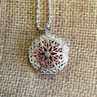 Essential Oil Diffuser Necklace with Silver Filigree Design