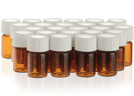 Essential Oil 2 ml Amber Sample Bottles 25 ct Bag with Lid Caps and Reducers by Young Living