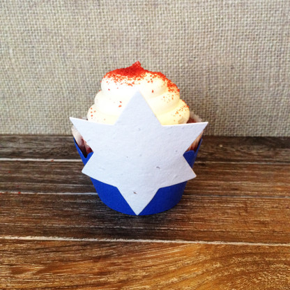 Star of David Plantable Cupcake Wrappers 12 Pack - Wildflower Seed 100% Recycled Paper