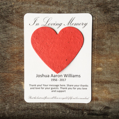Heart Memorial Plantable Wildflower Seeded 100% Recycled Paper Favors - Set of 12 - 39 Colors Available