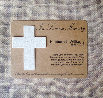 Cross Memorial Plantable Wildflower Seeded 100% Recycled Paper Flat Card Funeral Wake Favors - Set of 12 - 39 Colors Available