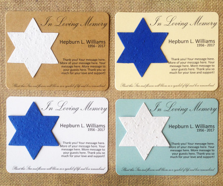 Star of David Jewish Memorial Funeral Plantable Seeded Recycled Paper Flat Card Favors - Set of 12 - 39 Colors Available