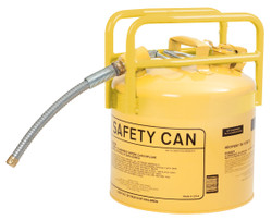 """Yellow Galvanized Steel Type II Style Safety Can  w/7/8"""" Flexible Hose"""