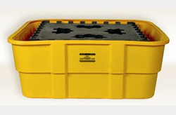 EAGLE IBC Containment Unit-All Poly Tub and Platform - Yellow w/Drain