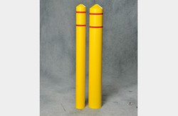 "EAGLE 4"" Bumper Post Sleeve-Smooth Sided-Yellow w/3/4"" Red Reflective Stripes"