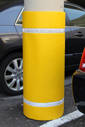 "Innoplast 44"" H x 36"" W Yellow Column Wrap Soft Padded Cover w/White Tape"