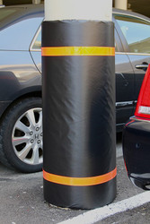 "Innoplast 44"" H x 60"" W Black Column Wrap Soft Padded Cover w/Red Tape"
