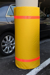 "Innoplast 44"" H x 72"" W Yellow Column Wrap Soft Padded Cover w/red tape"