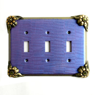 Bloomer Iris Triple Toggle Switch Cover Periwinkle