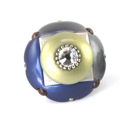 Mini duo knob 2 in. diameter in deep lapis, moonstone and jade with silver metal accents and crystal.