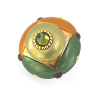 Mini Duo knob emerald 2 inches diameter with gold metal accents and olivine crystal