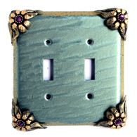 Bloomer Ivy double toggle switch cover in aqua with amethyst crystals