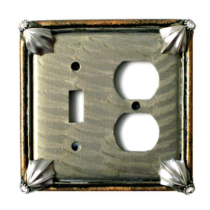 Cleo duplex outlet single toggle combo switch cover in deep opal