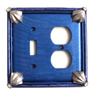 Cleo double combo outlet toggle switch cover lapis