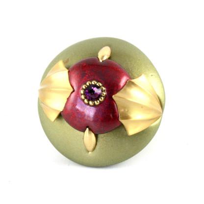 CLEO KNOB jade garnet  2 IN. diameter with gold metal details and amethyst crystal