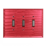 glass triple toggle switch plate ruby