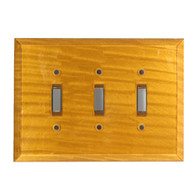 Deep Gold Glass Triple Toggle Switch Cover
