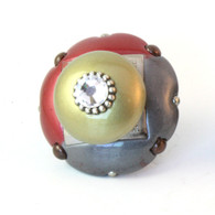 "Mini Duo Knob 2"" diameter with silver metal details and Swarovski crystal"
