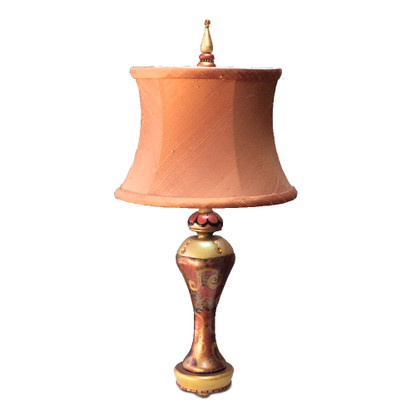 Accent Lamp Citrine Syl with silk drum shade pecan