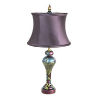 Accent Lamp Heather with Drum Shade in Sugar Plum silk