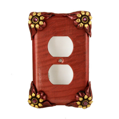 Bloomer Single Duplex Outlet Cover Poppy