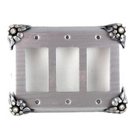 Bloomer Ice Triple Decora Switch Cover in silver with crystal