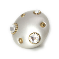 Mini Knob Style #6 Alabaster 2 in diameter with gold metal details and Swarovski crystals.