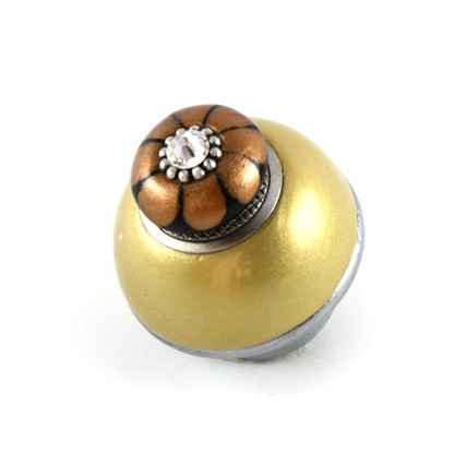 Nu Tiki Knob Light Gold 1.5 inches diameter with silver metal details and crystal