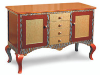 BOLERO BUFFET SIDEBOARD WITH TIGRESS GOLD PAINT FINISH HAS CABRIOLE LEGS WITH A TOPAZ CRYSTAL DETAIL.