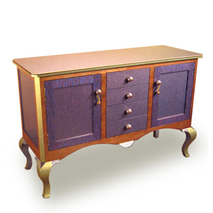 Bolero Buffet Sideboard with mauve paint finish has cabriole legs with an amethyst crystal detail.
