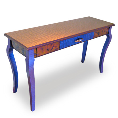Mambo ConsoleTable with 3 Drawers in Amber and Lapis Paint Finish