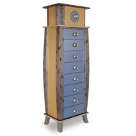 Tango Tower 8 drawer with Cubby Storage Compartment in light sapphire blue and light gold paint finish