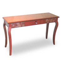 Mambo Console Sofa Table with Drawer in Light Bronze and Coral Paint finish