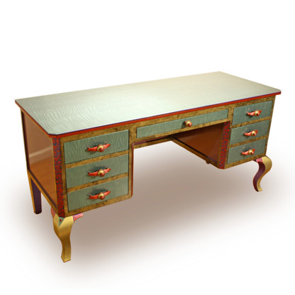 Jitterbug desk in aqua with ruby,jade and amber accent colors