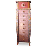 Tango Tower 8 Drawers in Light Bronze and Coral