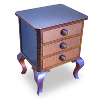 Small Jitterbug End Table with Drawers in Periwinkle and Amber