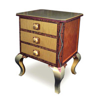 Small Jitterbug end table nightstand in light gold and amber paint finish
