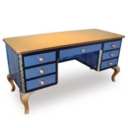 Jitterbug desk in light sapphire paint finish has file drawer concealed by 2 drawer facade.