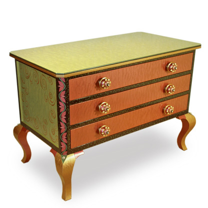 Jitterbug occasional dresser in coral and jade paint finish with custom  xl sunflower knobs