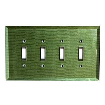 Emerald Glass Quad Toggle Switch Cover