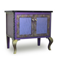 Charisma Vanity Sink Cabinet in mauve, periwinkle and jade paint finish