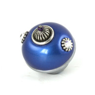 Nu Mini Style 1 knob lapis 1.5 inches diameter with silver metal details and crystals.
