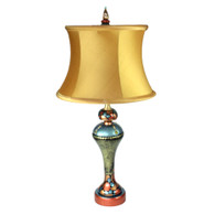 Roxy accent lamp with dupioni silk drum shade in silk aztec gold