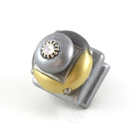 Duo Square Knob Light Gold 1.25 inches with silver metal details and Swarovski crystal