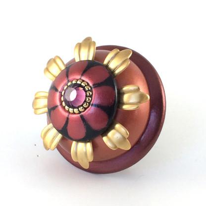 "XL Poppy cabinet knob 2.5 "" diameter with gold metal details and Swarovski amethyst crystal"