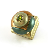 Duo Square Knob Emerald 1.25 Inches has gold metal accents and olivine crystal.