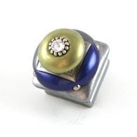 Duo Square Knob Deep Lapis 1.25 Inches