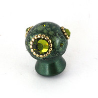 Petit Style 6 Knob emerald 1 inch diameter has special blended speckled finish.